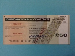 50 TRAVELLERS CHEQUE SPECIMEN FIFTY POUNDS STERLING COMMONWEALTH BANK OF AUSTRALIA - Specimen