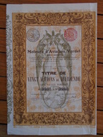 AVIATION / MOTERS VERDET / TITRE DE 20 ACTIONS DE DIVIDENDE / BRUXELLES 1911 / BELLE ILLUSTRATION - Actions & Titres