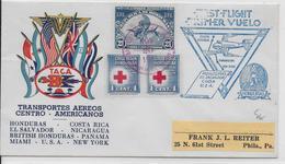 HONDURAS - 1943 - ENVELOPPE 1° VOL => COSTA RICA, EL SAVADOR, NICARAGUA, BRITISH HONDURAS, PANAMA, USA - Honduras