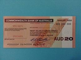 20 TRAVELLERS CHEQUE SPECIMEN TWENTY DOLLARS AUSTRALIAN CURRENCY COMMONWEALTH BANK OF AUSTRALIA - Specimen