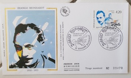 FRANCE Musique, Music, Musica. Django REINHARDT. Yvert 2810  FDC, Enveloppe Premier Jour Sur Soie - Musik