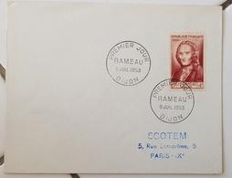 FRANCE Musique, Music, Musica. RAMEAU. Yvert 947 FDC, Enveloppe 1er Jour émise En 1953 - Musik