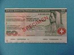 BANCONOTA SPECIMEN 50 FRANCS SWISS BANKERS TRAVELLERS CHEQUE REISECHECK - Specimen