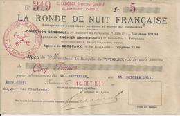 BORDEAUX LA RONDE DE NUIT FRANCAISE RECU DE MR LE MARQUIS DU VIVIER RUE D AVIAU AVEC CACHET ANNEE 1911 - Unclassified
