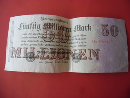 BILLET ALLEMAGNE De 1923 - 50 MILLIONEN MARK @ WPM Pick N° 98b - 50 Millions De Mark ! - [ 3] 1918-1933: Weimarrepubliek