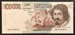 100000 Lire Caravaggio I° Tipo Serie B 1985 Q.fds Lotto.2096 - [ 2] 1946-… : Repubblica
