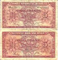 BELGIQUE - BELGIUM  5 Fr (1/2/1943 Série 1 Londre) Pick 121 TB - [ 3] Ocupaciones Alemanas En Bélgica