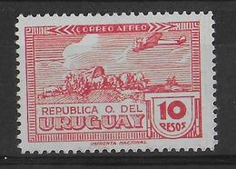 URUGUAY - 1939 - RARE YT N° PA 93 * SIGNE BRUN   - COTE = 100 EUR - Uruguay