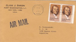 CLYDE J SARZIN. SOBRE ENVELOPE VIA AIRMAIL CIRCULEE USA TO BUENOS AIRES 1983- BLEUP - United States