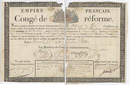 Congé De Réforme Trèves Giromagny + Mémoire 1811 Héraldique - Documents Historiques