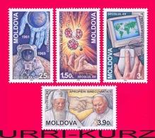 MOLDOVA 2000 Millenium Famous Events Of XX Century Space Nuclear Fusion Computer Religion 4v Mi357-360 Sc349-352 MNH - Computers