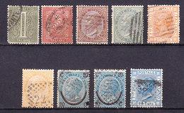 1863 1877  DE LA RUE + RIQUADRATI LOTTO 9 BOLLI USATO - Usati