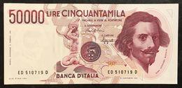 50000 Lire BERNINI I° TIPO SERIE D 1990 Q.fds  LOTTO.2108 - [ 2] 1946-… : Repubblica