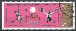 Yemen 1971. Scott #287B (U) Intl. Sports Contribute To World Peace, Figure Skating, Weightlifter * - Yémen
