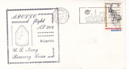 APOLLO MANNED FLIGHT AP 204 ATLANTIC NAVY RECOVERY FORCE-SOBRE ENVELOPE 1967 USA- BLEUP - America Del Nord