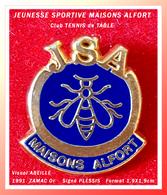 SUPER PIN'S TENNIS De TABLE De MAISONS ALFORT : Visuel ABEILLE JSA En ZAMAC Base Or 1991, Signé PLESSIS, 1,9X1,9cm - Tenis De Mesa