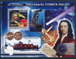 D- [400648] **/Mnh-Sao Tomé-et-Principe 2009 - 250ème Anniversaire De La Découverte De La Comète Halley, Astronome - Astronomie