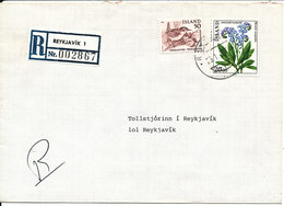 Iceland Registered Cover Reykjavik 1 25-1-1984 Flower And BIRD On The Stamps - 1944-... Repubblica