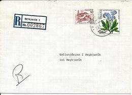 Iceland Registered Cover Reykjavik 1 25-1-1984 Flower And BIRD On The Stamps - 1944-... Republique