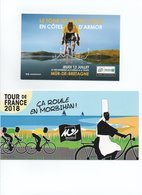 CYCLISME TOUR  DE  FRANCE   2018  2 CARTES MUR DE BRETAGNE ET MORBIHAN - Cyclisme