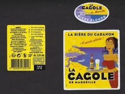 """Etiquette Biere  Blonde De Marseille """"La Cagole"""" 5,5% 33 Cl """"femme Brune, Plateau De Bière à La Main"""" - Birra"""