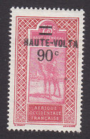 Upper Volta, Scott #37, Mint Hinged, Camel Rider Surcharged, Issued 1924 - Upper Volta (1920-1932)