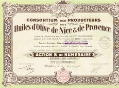 Action Ancienne - Consortium Des Producteurs Des Huiles D'Olive De Nice Et De Provence - Titre De 1928 N°082614 - Landbouw