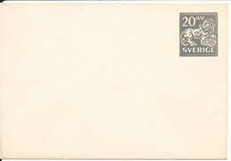 Sweden Small Postal Stationery Cover 20 öre Grey In Mint Condition - Postal Stationery