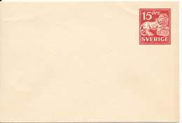 Sweden Small Postal Stationery Cover 15 öre Red In Mint Condition - Postal Stationery