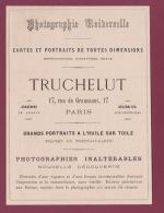 270718  - Document 1878 Pub TRUCHELUT 17 Rue Grammont PARIS Photographie Cartes Portraits - Autres