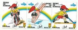 Sticker - Sport Op School - Walibi - B.O.I.C. - BRT - S.V.S. - Olympische Mascotte - 3 Stuks - Autocollants