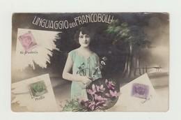 LINGUAGGIO DEI FRANCOBOLLI CARTOLINA VIAGGIATA 1922 VERSO NAPOLI - 15 CENT VITTORIO VENETO - POSTCARD - Francobolli (rappresentazioni)