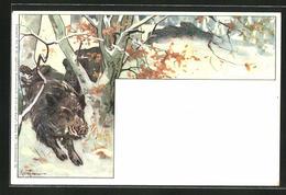 Lithographie Wild Und Hund, Wildschweinrotte - Pigs