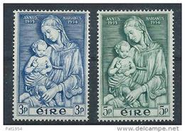 Irlande 1954 N°122/123 Neufs ** MNH Année Mariale Vierge Et Enfant - 1949-... République D'Irlande