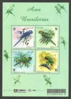 BRAZIL 2001 BIRDS PARROTS WWF ENDANGERED SPECIES M/SHEET MNH - Nuovi