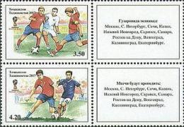 Tajikistan 2017 Mi#780-81 Football Russia 2018  Bl Of 2v - Tadschikistan