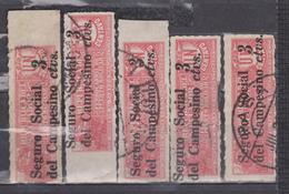 ECUADOR 1936 STEAM LOCOMOTIVE IN TOBACCO TAX SOCIAL & RURAL WORKERS INSURANCE FOUNDATION WHOLESALE X 5 SC# RA32 - Eisenbahnen