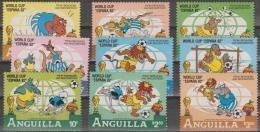 ANGUILLA - 1982 World Cup Soccer. Disney, Complete Set. Scott 492-500. MNH - Anguilla (1968-...)