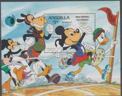 ANGUILLA -  1984 Olympic Games Mickey Mouse Disney Souvenir Sheet. Scott 568. MNH ** - Anguilla (1968-...)