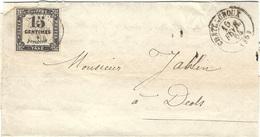 1864- Lettre De CHATEAUROUX ( Indre ) Cad T15 Affr. TAXE 15 C - Marcophilie (Lettres)