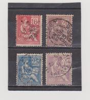 FRANCE   1900-01  Y.T. N° 112  113  114  115  Oblitéré - 1900-02 Mouchon