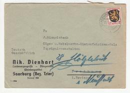 Nik. Dienhart Saarburg Company Letter Cover Travelled 1946 B180725 - Französische Zone