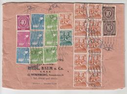 Riedl, Baum U. Co. Nurnberg Company Letter Cover Travelled 1948 Multifranked B180725 - Zona AAS