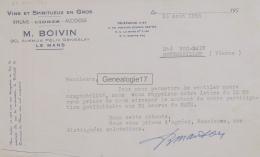 72 255A LE MANS SARTHE 1955 Vins Spiritueux M. BOIVIN Avzenue Felix Geneslay à ROC SAIN - Food