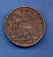 Grande Bretagne  - 1 Farthing 1886  --  Km # 753 --  état  TTB - Coups Tranche - B. 1 Farthing