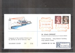 Souvenir Cover Registered - Inaugural Of The London-Ostend Line By Jet-Foil On 29th Fébruary 1980 (to See) - 1952-.... (Elizabeth II)