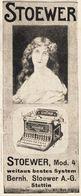 Original-Werbung/ Anzeige 1908 - STOEWER SCHREIBMASCHINE - STETTIN - Ca. 45 X 110 Mm - Publicités