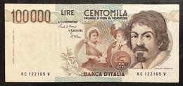 100000 Lire Caravaggio I° Tipo Serie C 1986 Bb/spl Lotto.2115 - [ 2] 1946-… : Repubblica