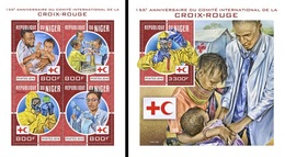 Niger 2018, Red Cross, 4val In BF+BF - Croix-Rouge