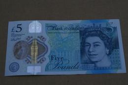 BILLETE DE REINO UNIDO DE 5 POUNDS DEL AÑO 2016 CALIDAD EBC (XF) (BANK NOTE) POLYMERO - 1952-… : Elizabeth II
